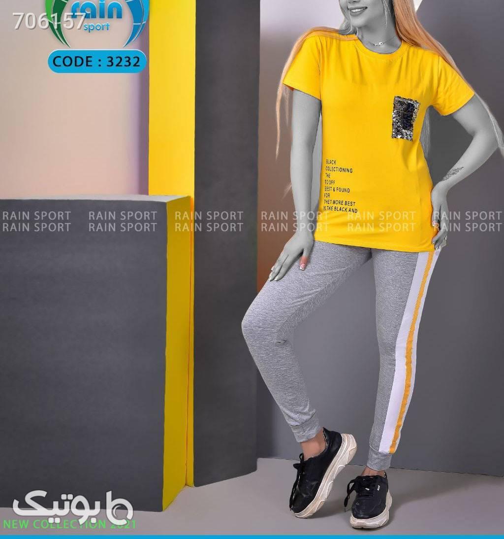 تیشرت وشلوار زرد لباس راحتی زنانه