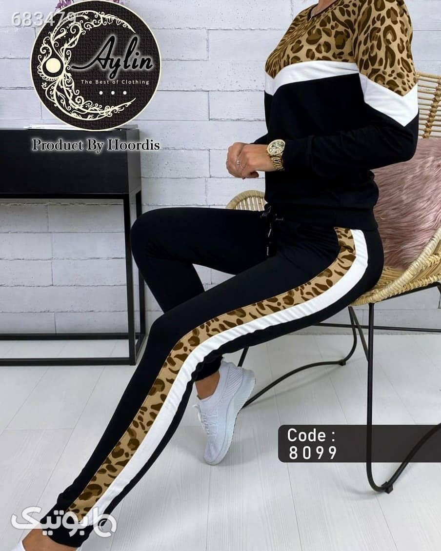 ست بلوز و شلوار پلنگی  قهوه ای لباس راحتی زنانه