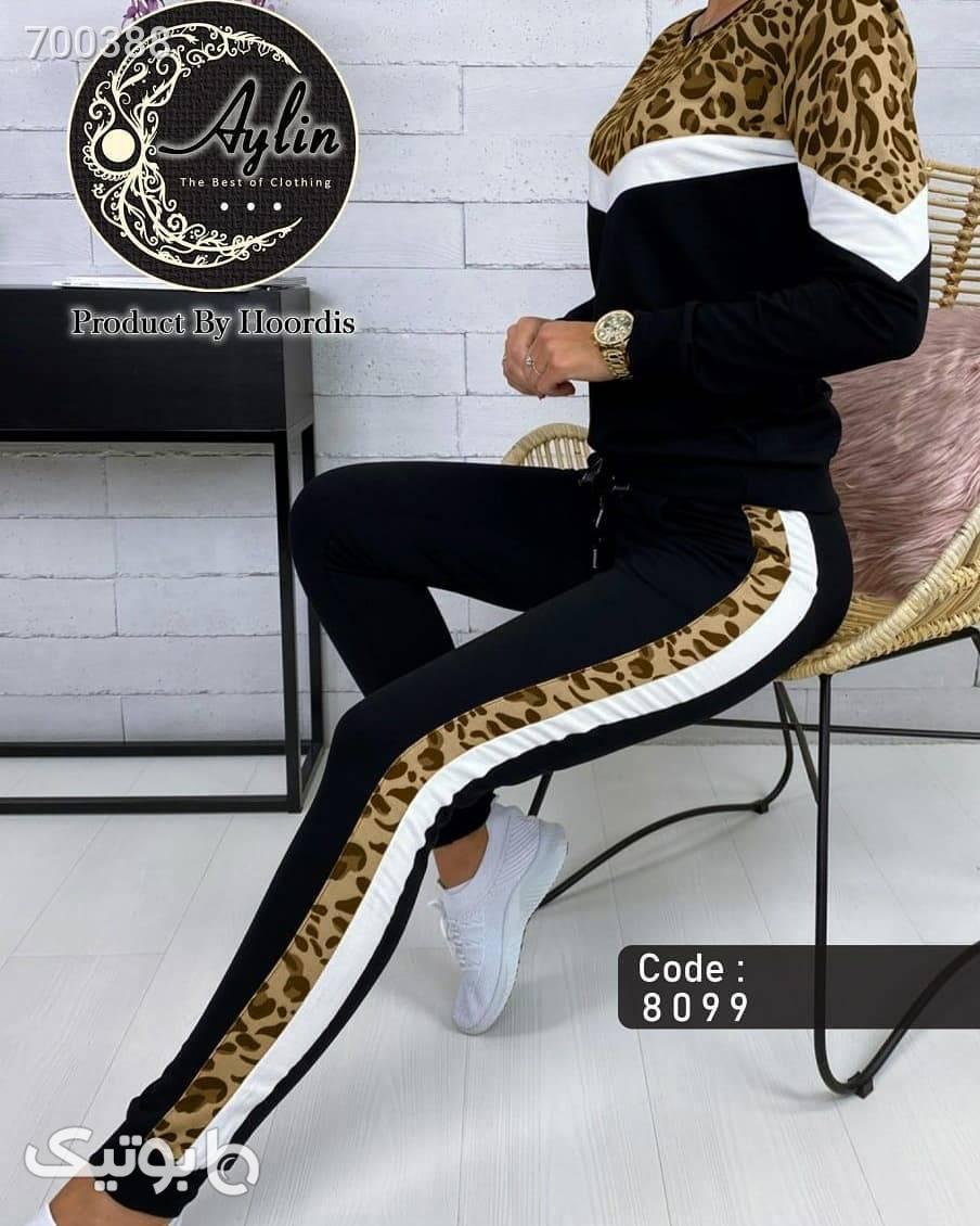 ست بلوز و شلوار پلنگی مشکی لباس راحتی زنانه