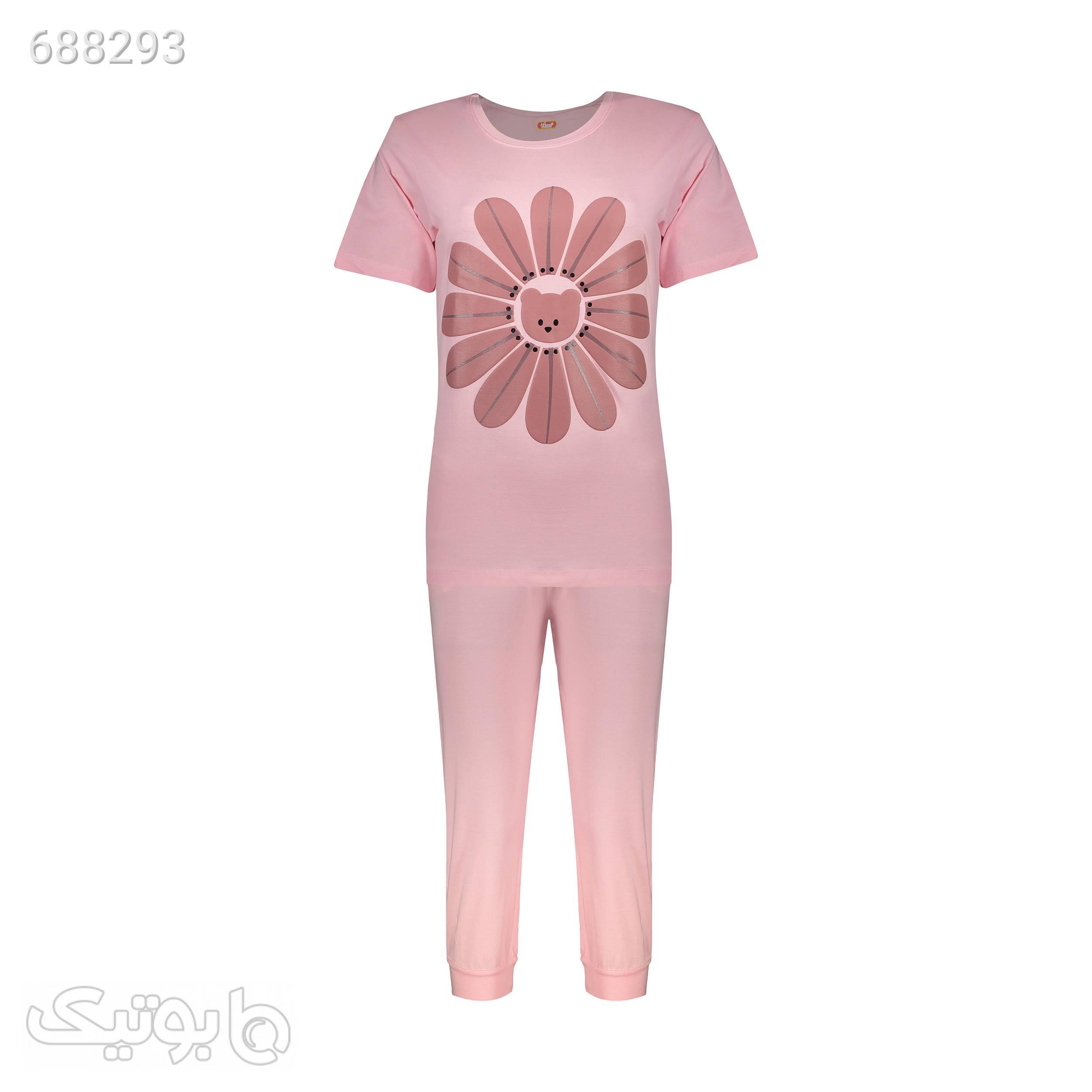 ست تی شرت و شلوارک راحتی زنانه مادر مدل 204110184 صورتی لباس راحتی زنانه