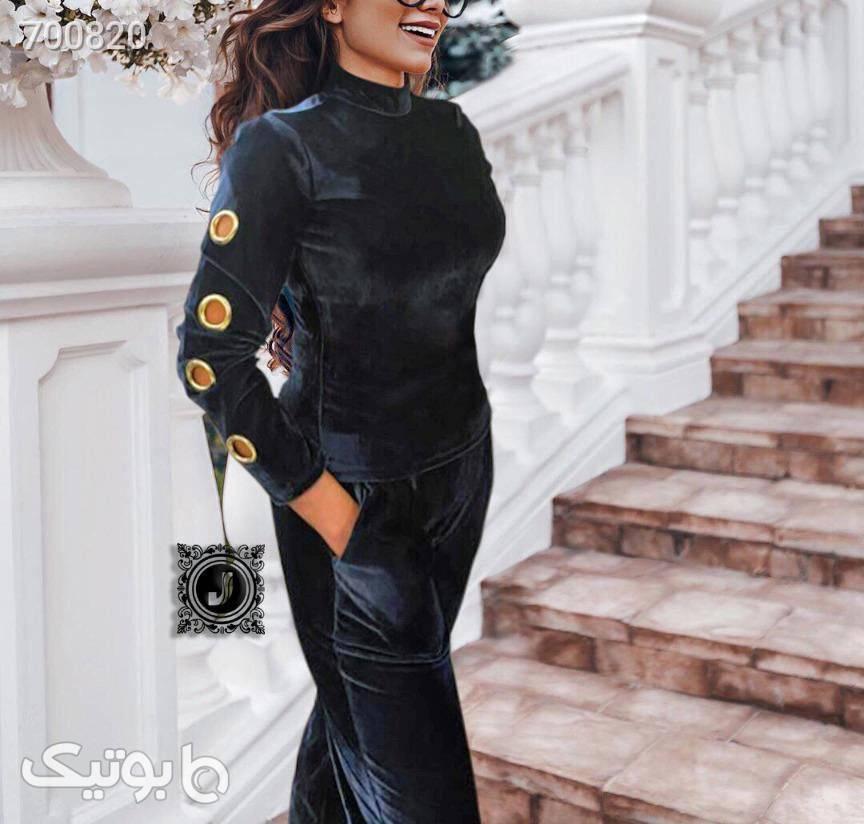 ست بلوز شلوار مخمل  مشکی لباس راحتی زنانه