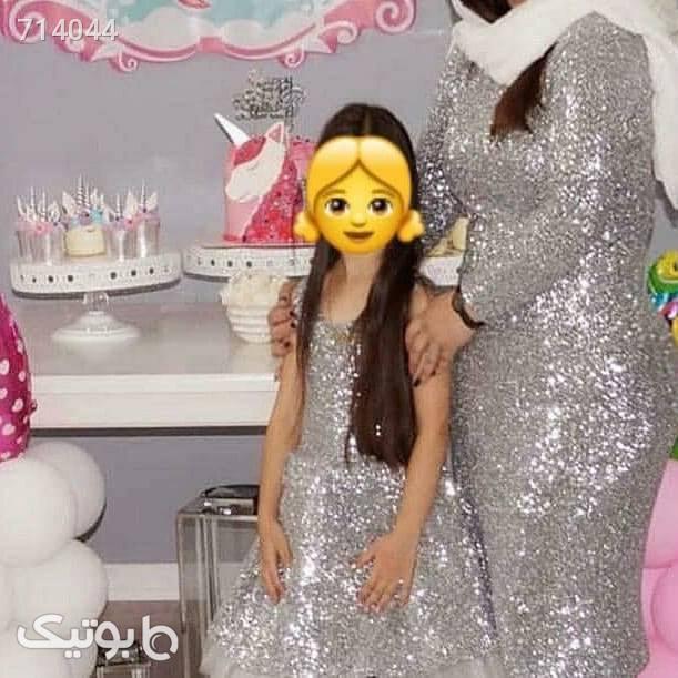 ست مادر و دختر پولکی زیبا و با حجاب زرد لباس کودک دخترانه