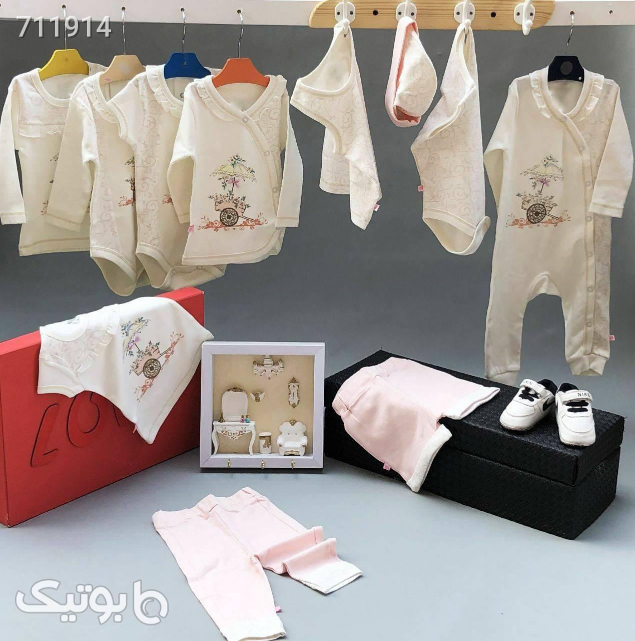 سیسمونی تیکه باز نوزادی گل و گاری سفید لباس کودک دخترانه