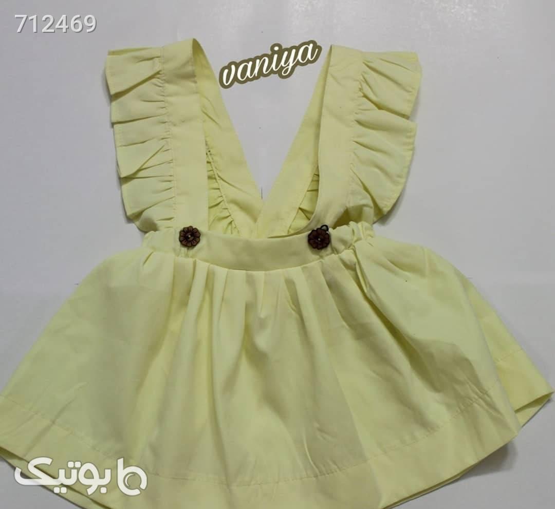 شومیز و سارافون دخترانه زرد لباس کودک دخترانه