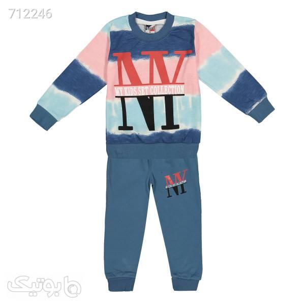 ست سویشرت و شلوار بچگانه مسعود مدل نیویورک کد ۲۲۴۳ سورمه ای لباس کودک پسرانه
