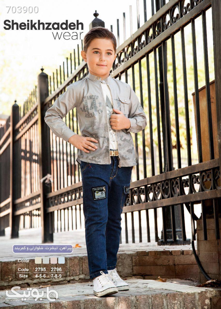 پیراهن شلوار پسرانه چهار تیکه ویژه نوروز زرد لباس کودک پسرانه