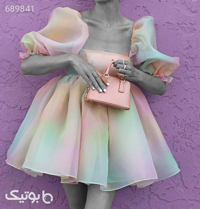 پیراهن مجلسی عروسکی سفید لباس  مجلسی