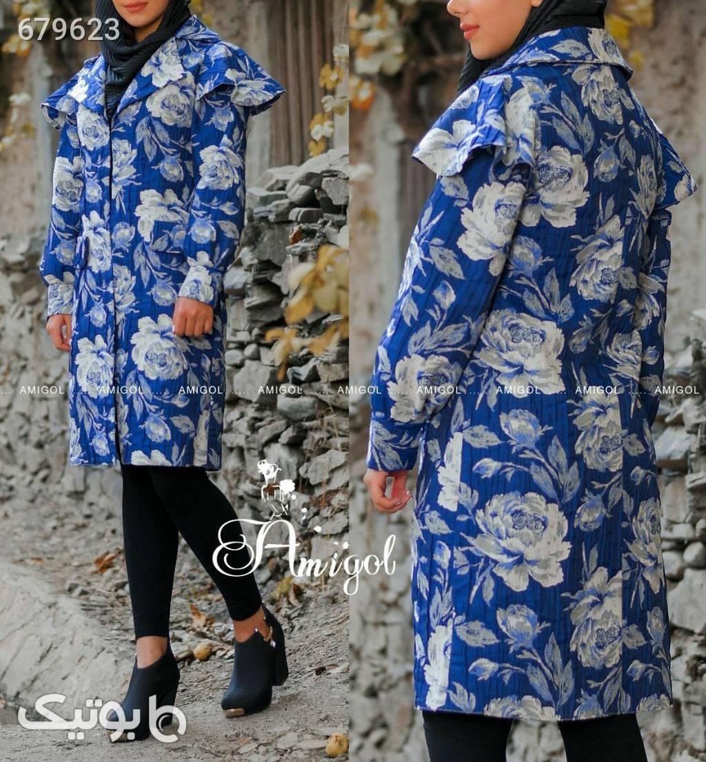 مانتو ژاکارد عیدانه آبی پوشاک و لوازم شنا زنانه