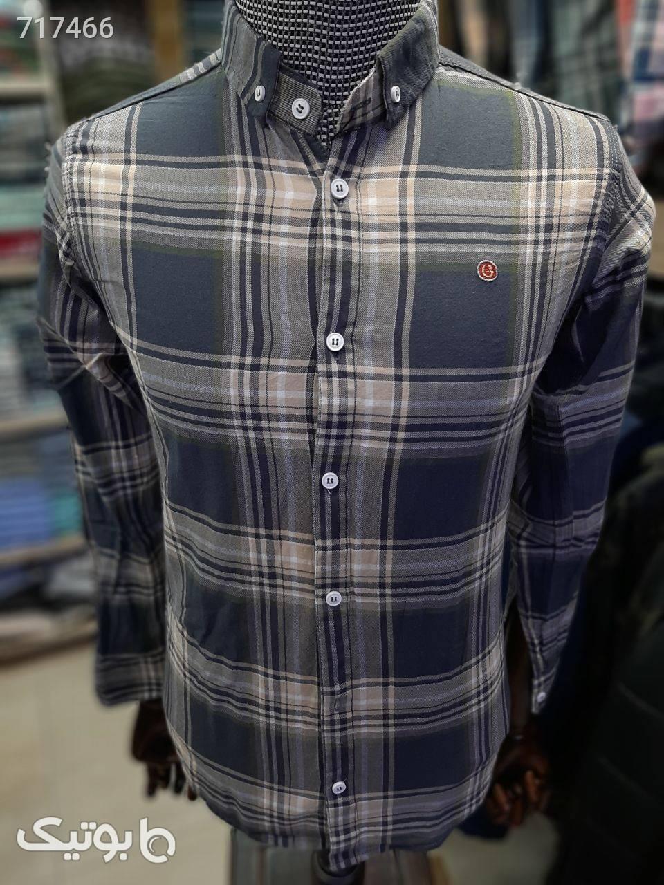پیراهن مردانه نخ پنبه نقره ای پيراهن مردانه