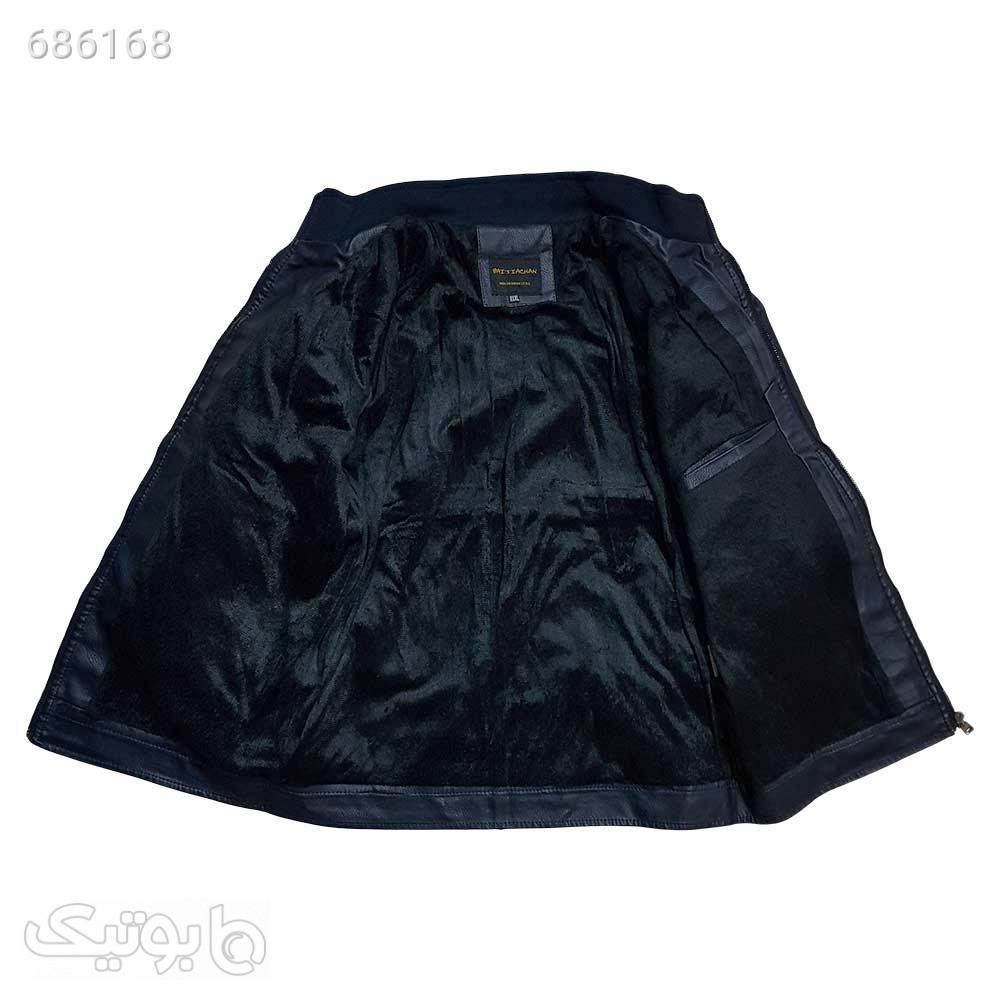 کاپشن چرم سورمه ای120b441 مشکی کاپشن و بارانی مردانه