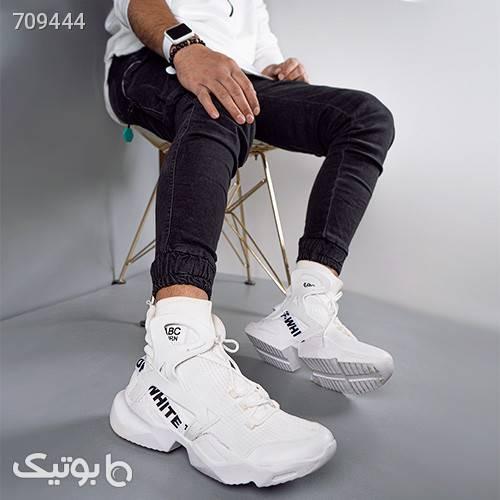 كفش سفيد ساقدار مردانه مدل DARVIN سفید كتانی مردانه