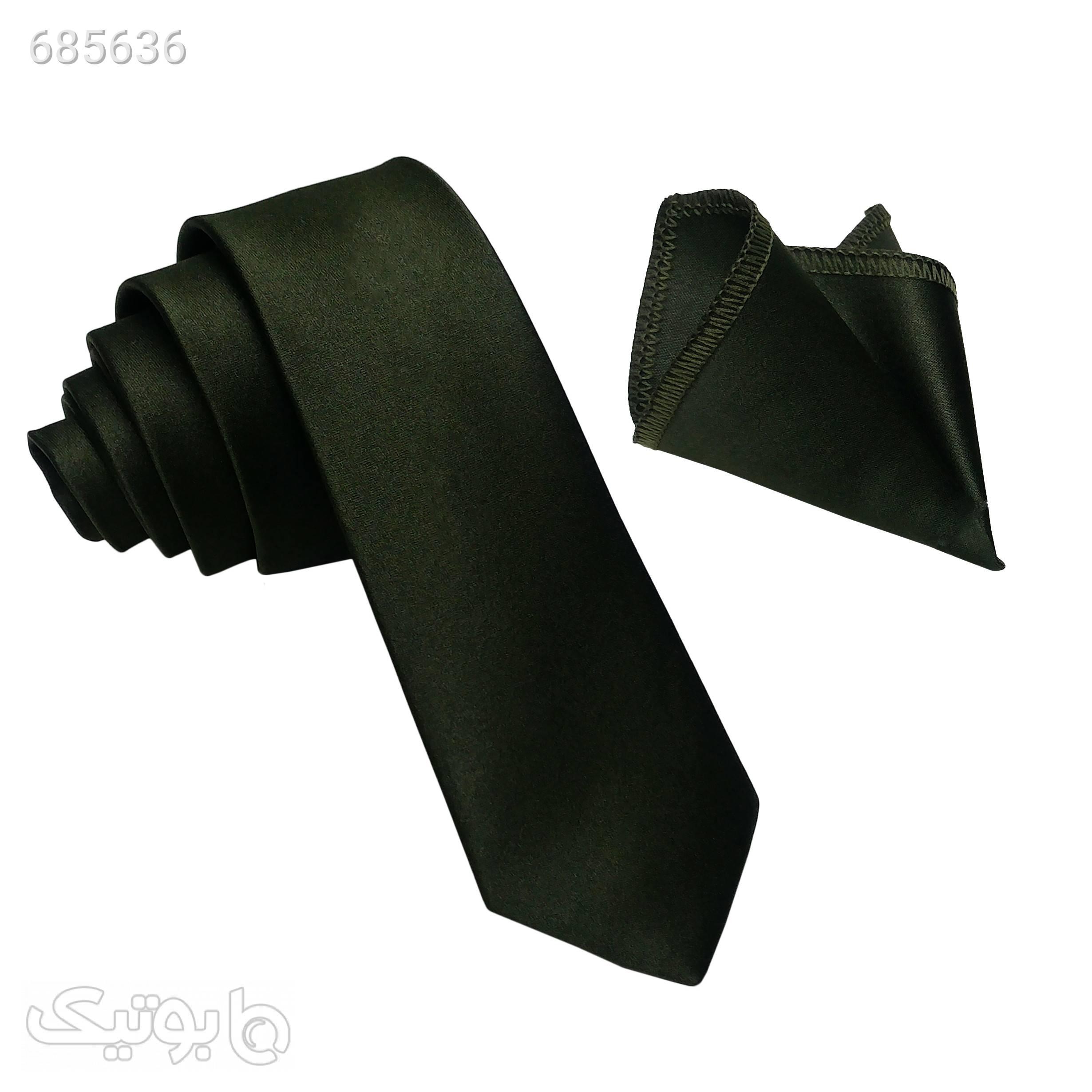 ست کراوات و دستمال جیب مردانه مدل 00 مشکی كراوات و پاپيون