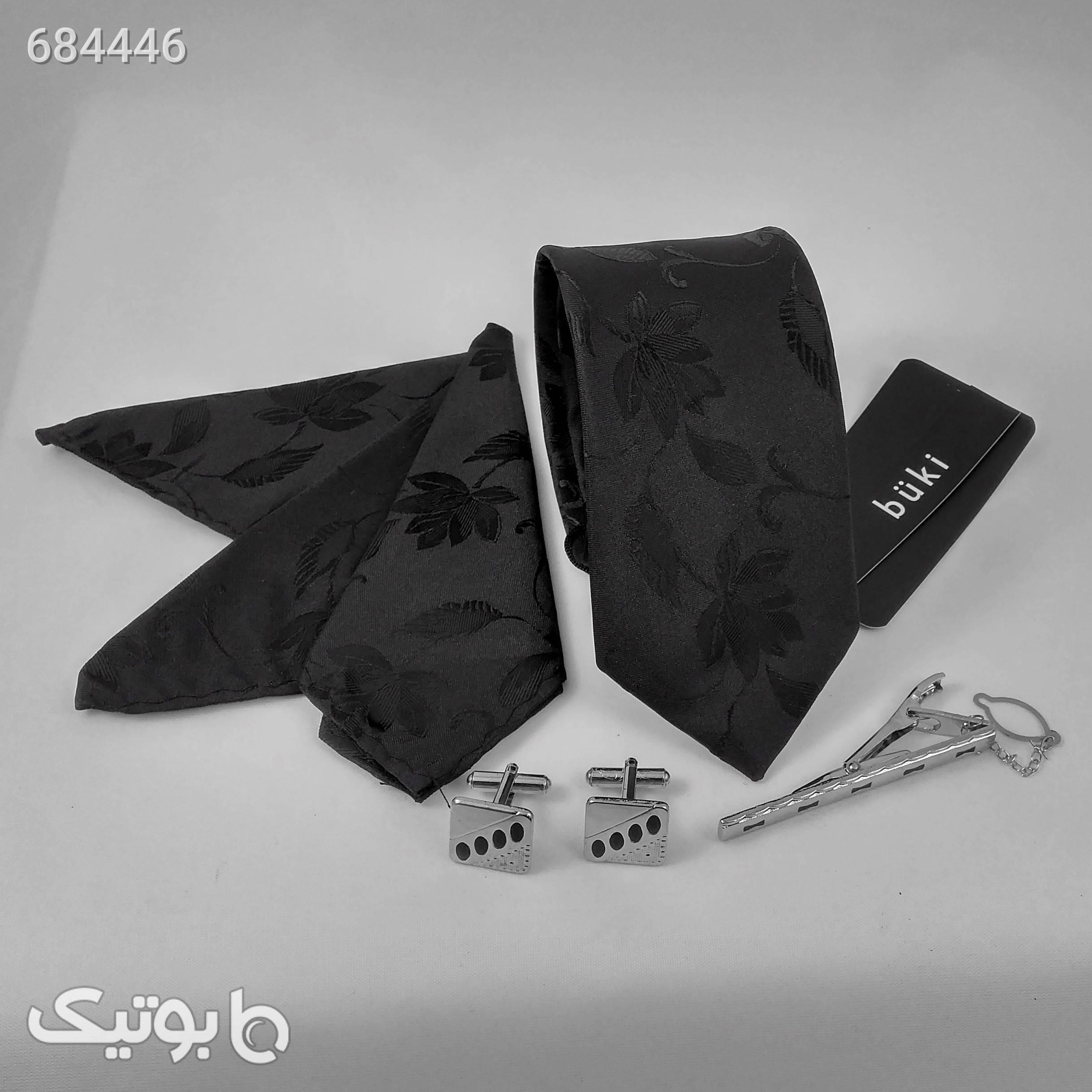 ست کراوات و دستمال جیب و دکمه سر دست مردانه کد 417 مشکی كراوات و پاپيون