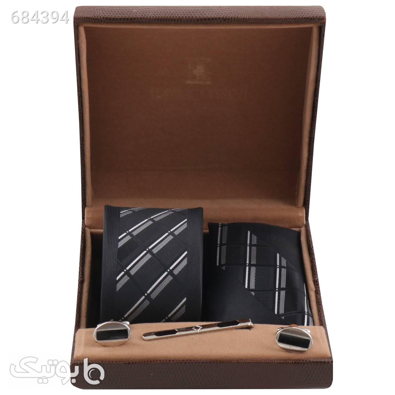 ست کراوات و دستمال جیب و دکمه سر دست مردانه کد SH1154A مشکی كراوات و پاپيون
