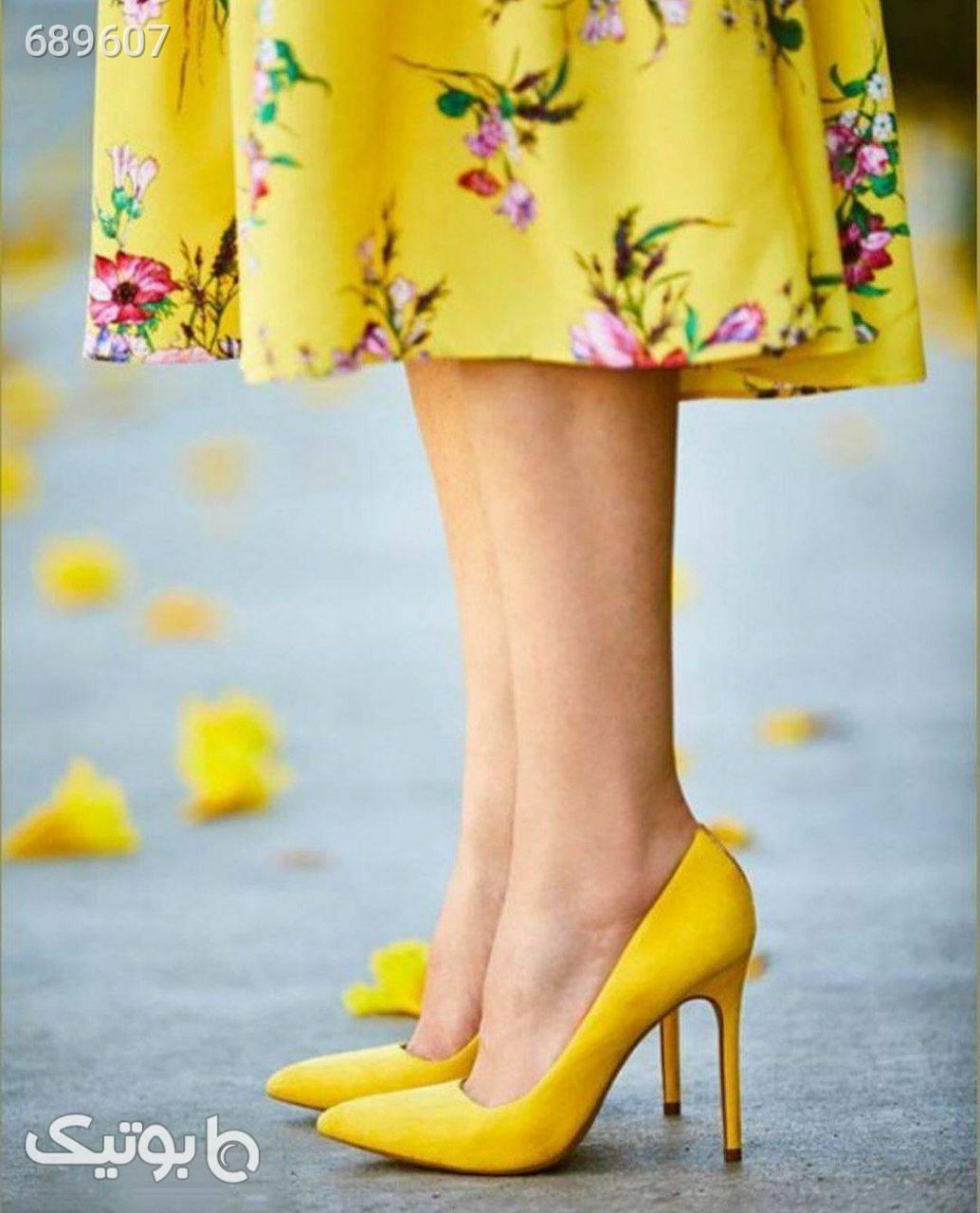مجلسی زرد كفش پاشنه بلند زنانه