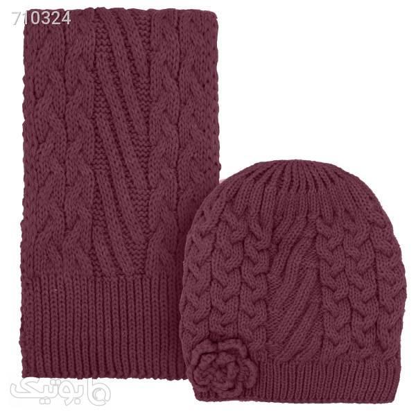ست کلاه و شال گردن دخترانه کد D8130 قهوه ای کلاه بافت و شال گردن و دستکش