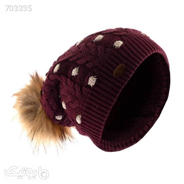 کلاه بافتنی تارتن مدل 80021 رنگ زرشکی زرشکی کلاه بافت و شال گردن و دستکش