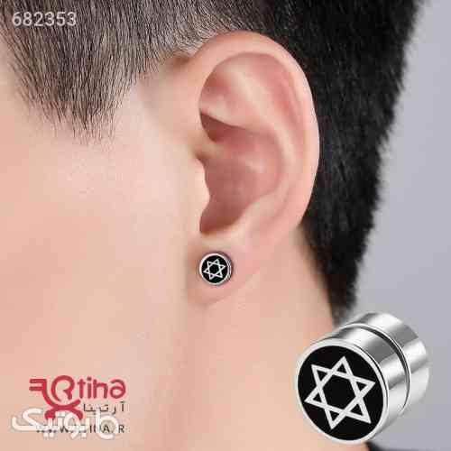 گوشواره آهنربایی دخترانهپسرانه طرح ستاره 6 گوش نقره ای 99 2021