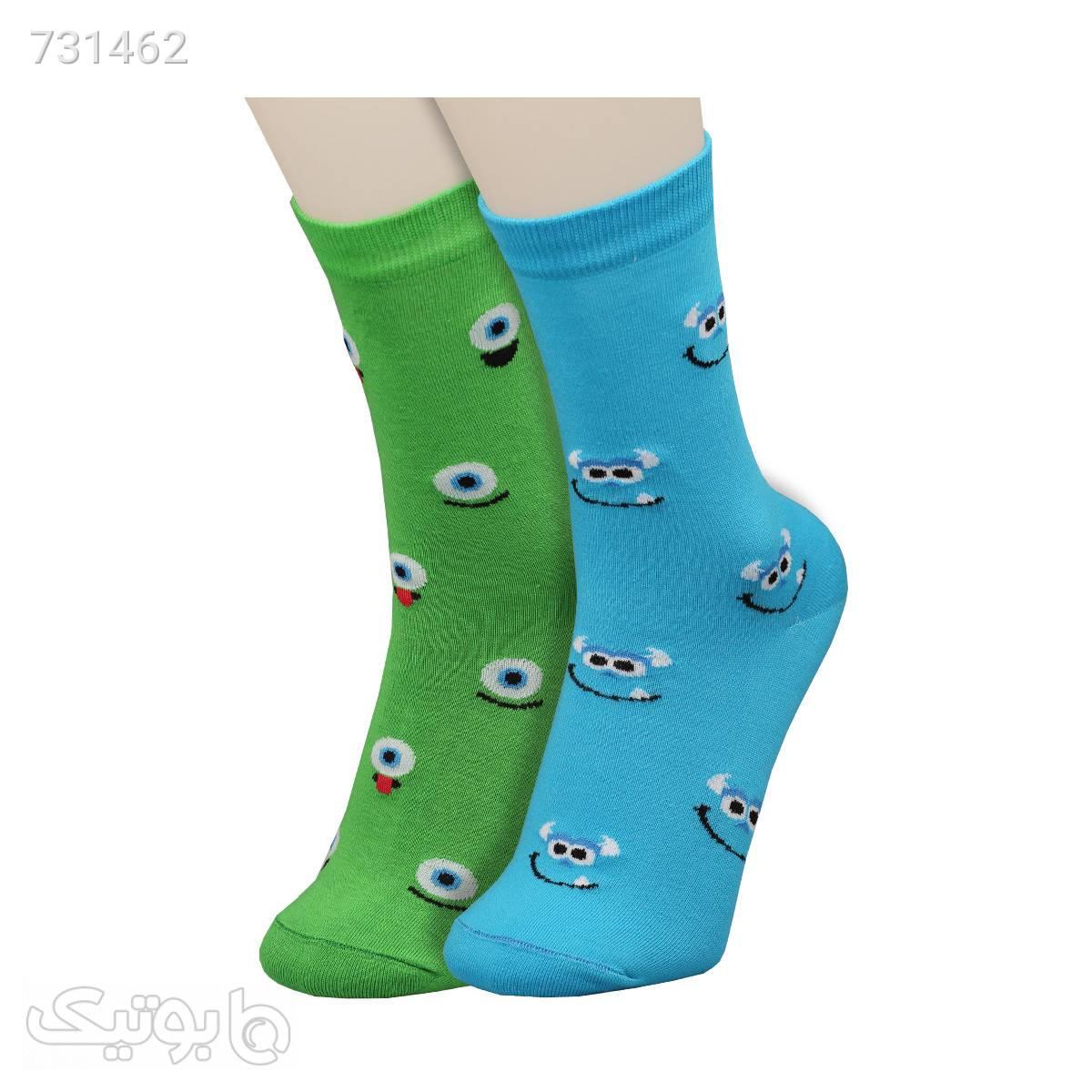 جوراب طرح Monsters زنانه ساق دار کدsow1471 آبی جوراب و پاپوش