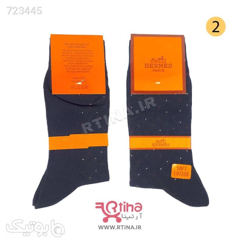 جوراب مردانه طرح دار مدل حصیری HOUTAN4 کرم جوراب و پاپوش