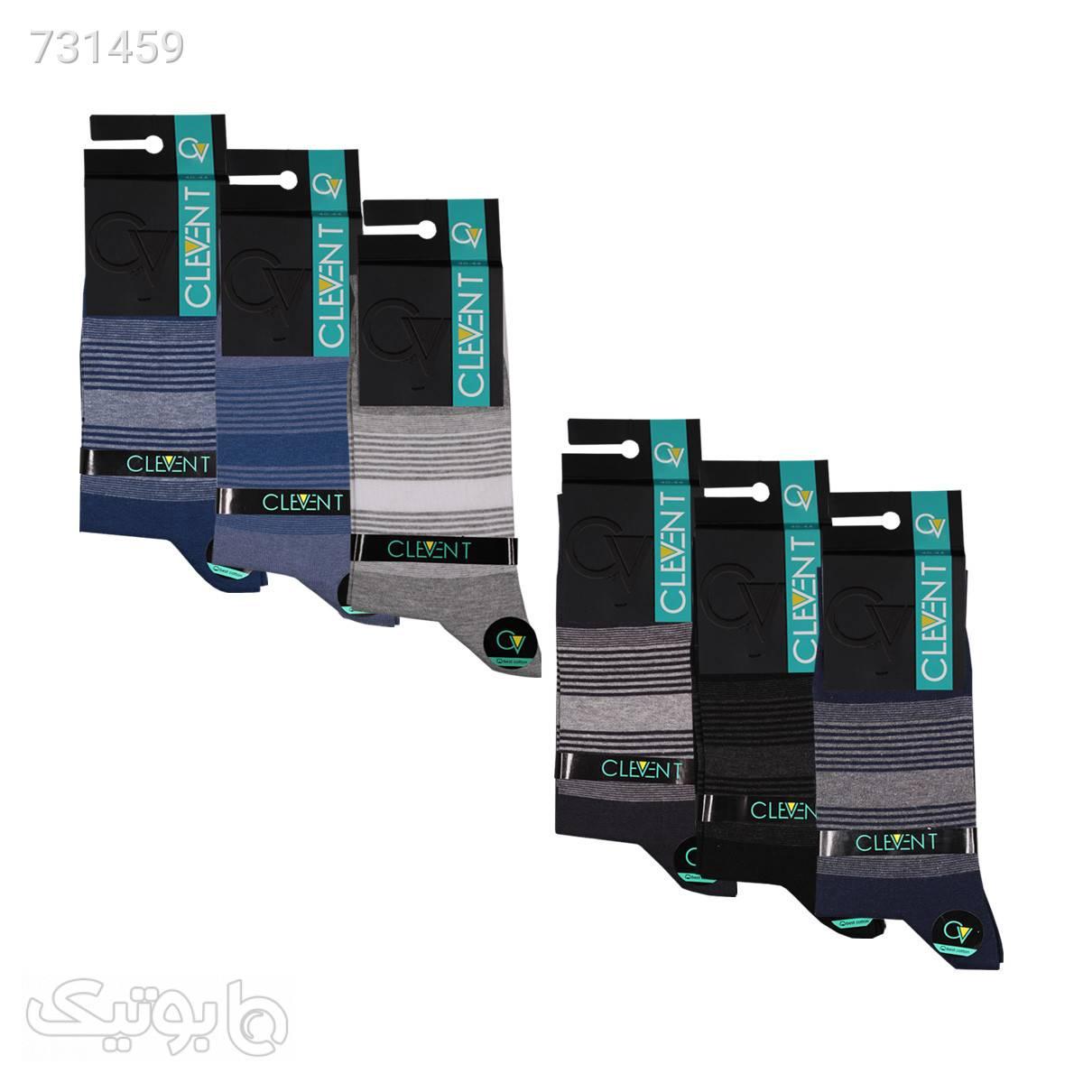 جوراب مردانه ۱۱۰۲ ساق دار بسته ۶ عددی برند CLEVENT کدsom1021 آبی جوراب و پاپوش