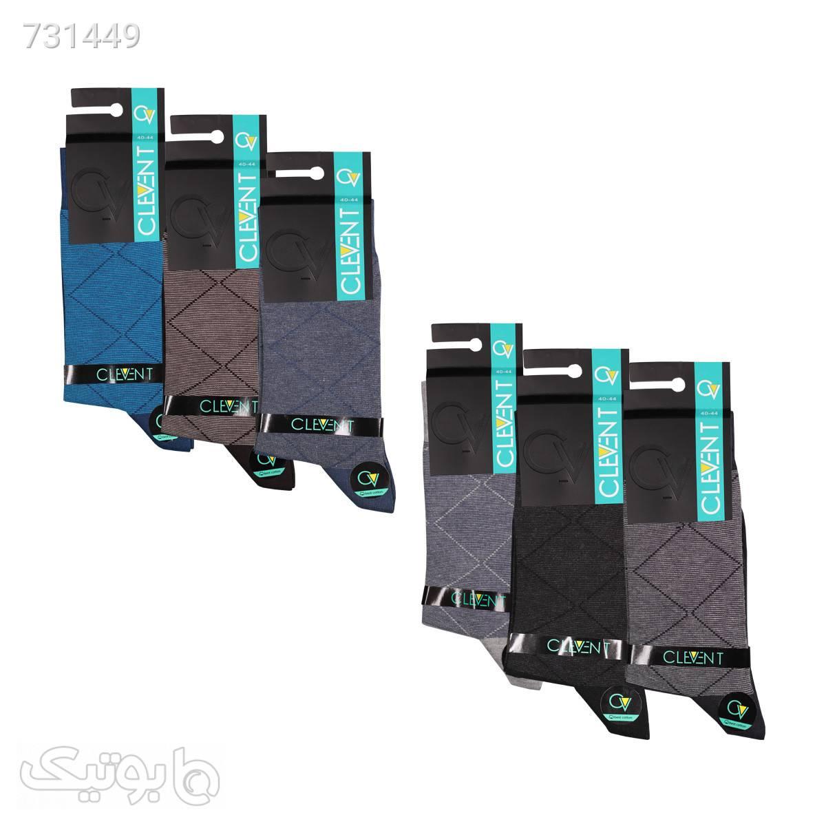 جوراب مردانه ۴۱۰۲ ساق دار بسته ۶ عددی برند CLEVENT کدsom1024 مشکی جوراب و پاپوش