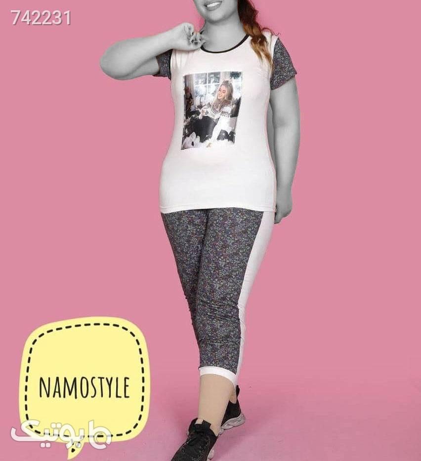 ست تیشرت و شلوار سایز بزرگ  سفید سایز بزرگ زنانه