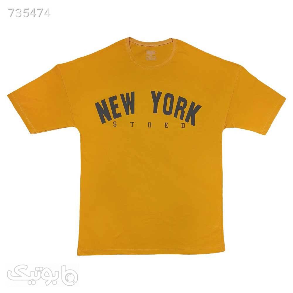 تیشرت پنبه ای سایز بزرگ خردلی 12211027 زرد سایز بزرگ مردانه