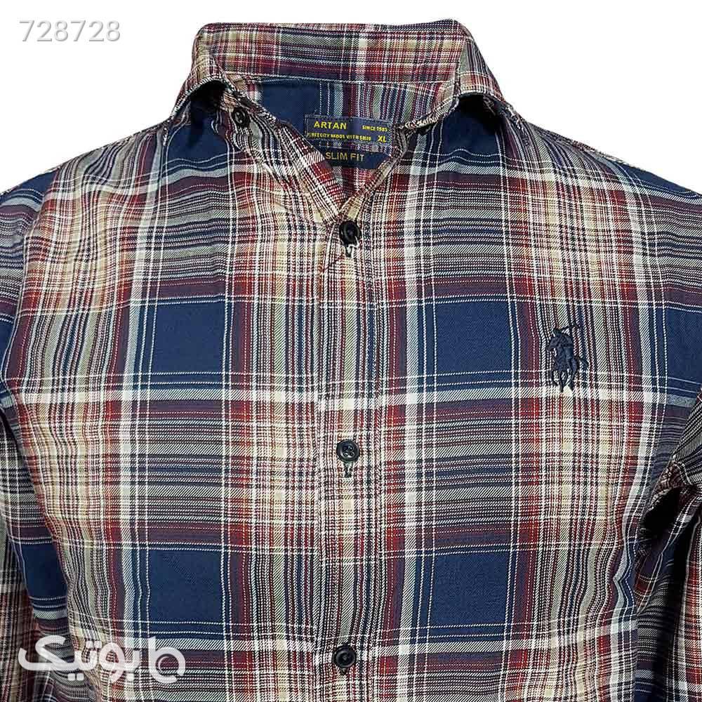 پیراهن نخی سایز بزرگ 124148114 سورمه ای سایز بزرگ مردانه