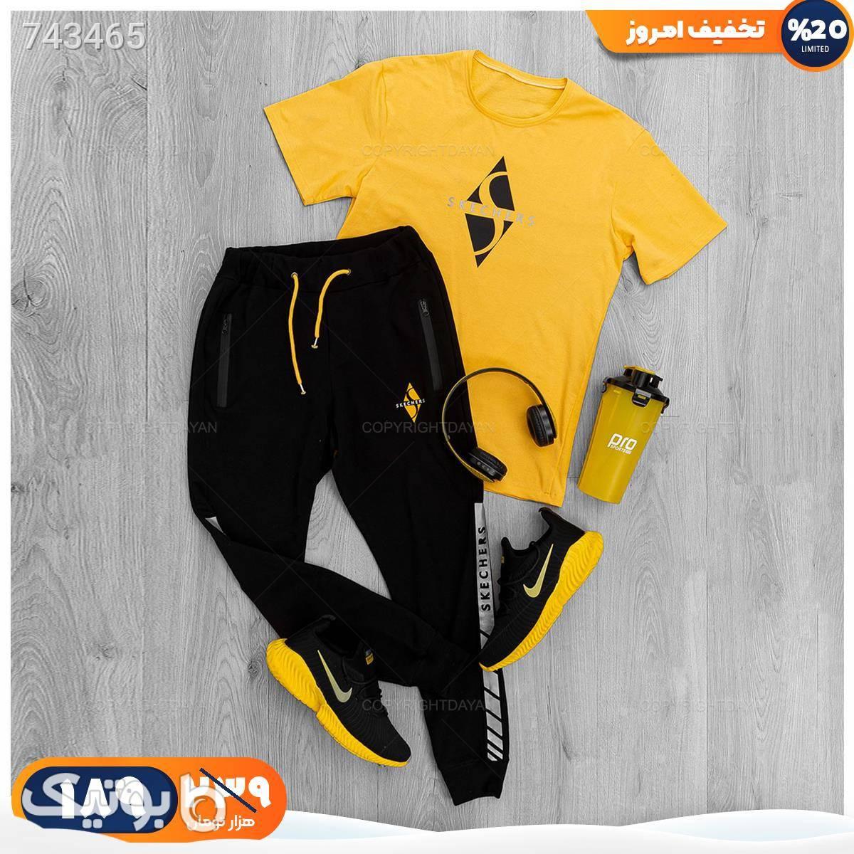 ست تیشرت و شلوار مردانه Skechers  زرد ست ورزشی مردانه