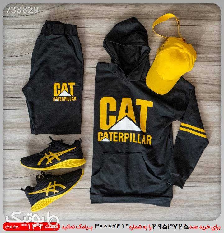 ست سوئيشرت شلوار مردانه CAT مشکی ست ورزشی مردانه