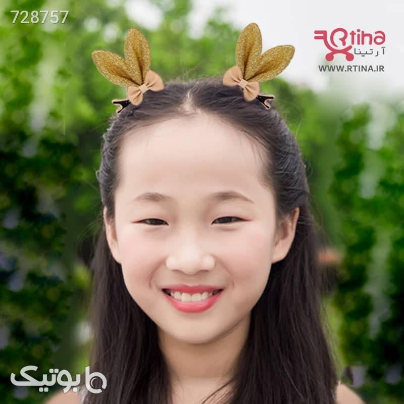 گل سر دخترانه با فوم اکلیلی مدل پاپیونخرگوشی طلایی سنجاق سر و آرایش مو