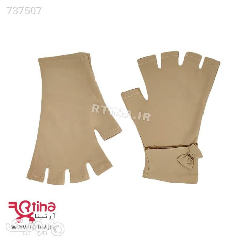 دستکش نیم انگشت پارچه ای دخترانه و زنانه مدل RTSI03 طوسی سنجاق سینه و گیره روسری