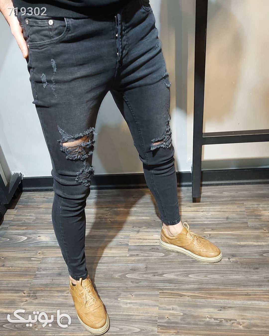 شلوار جین زاپدار مشکی شلوار جین مردانه