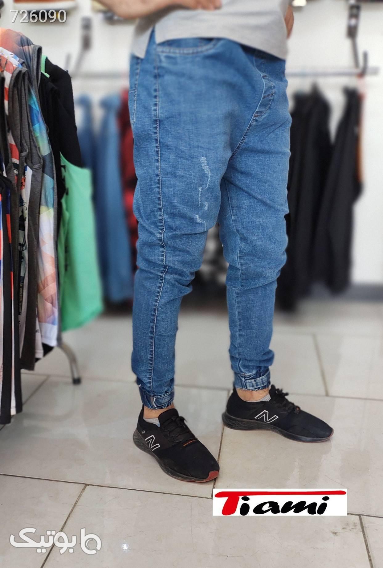 شلوار لی دمپا کش نیم فاق ترک  آبی شلوار جین مردانه