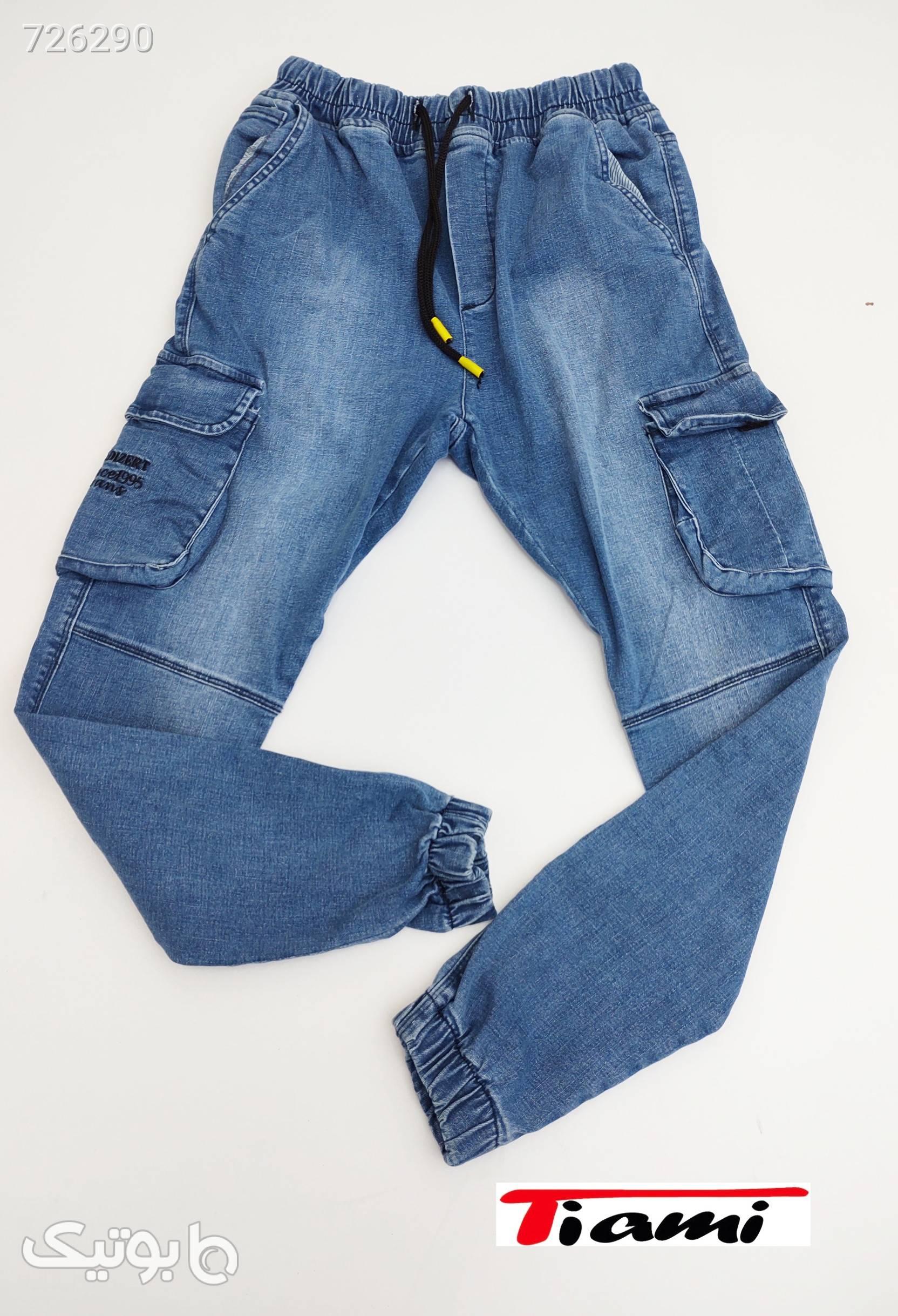 شلوار لی ۶جیب نیم فاق ترک  آبی شلوار جین مردانه