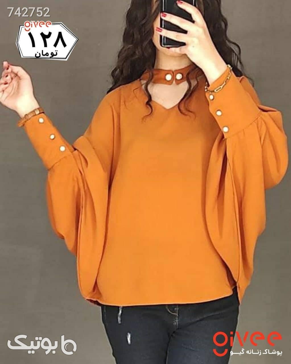 شومیز آستین دکمه نارنجی شومیز