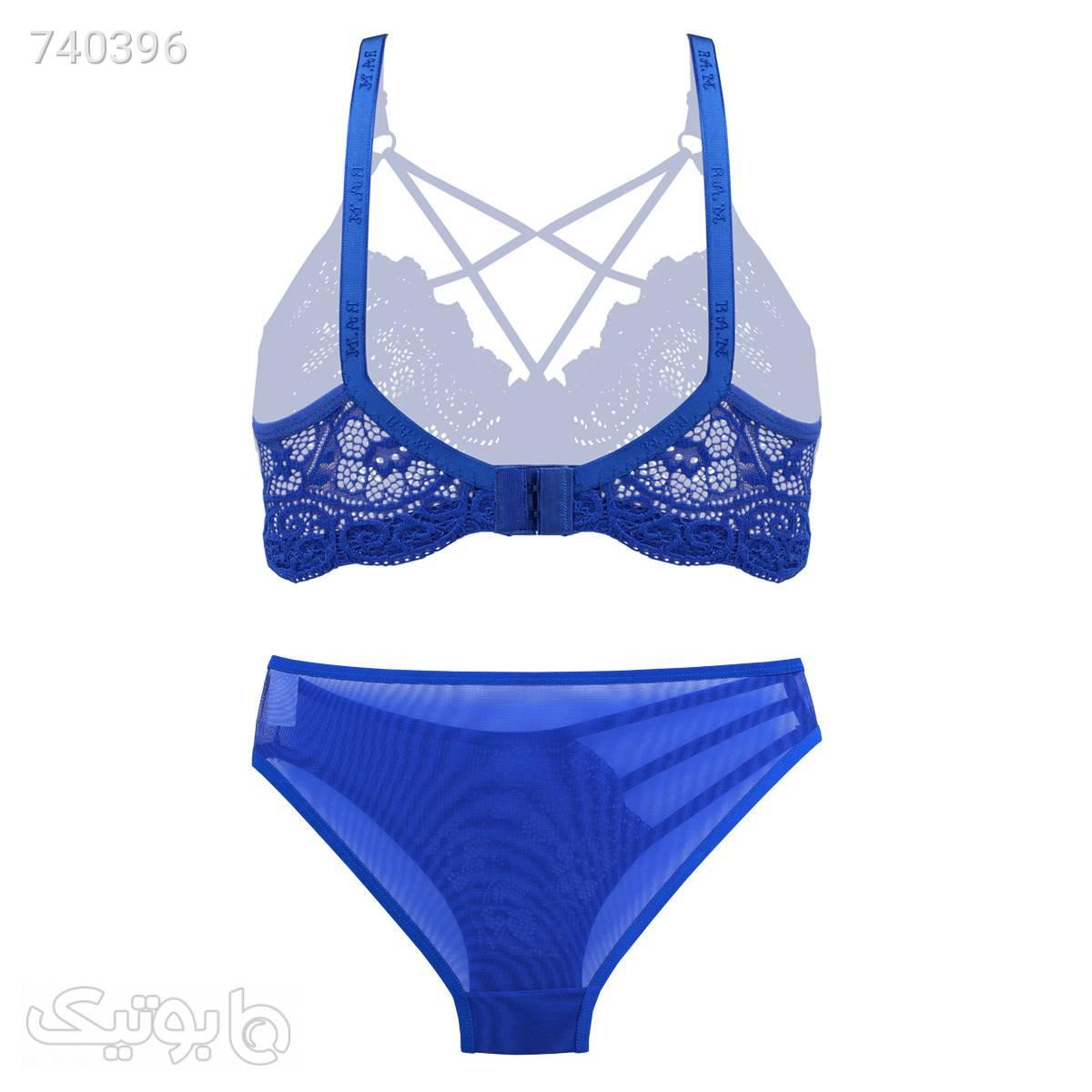 ست توری لاکچری کاربنی بند هارنسی برند B038;D کدs3718 آبی لباس زیر زنانه