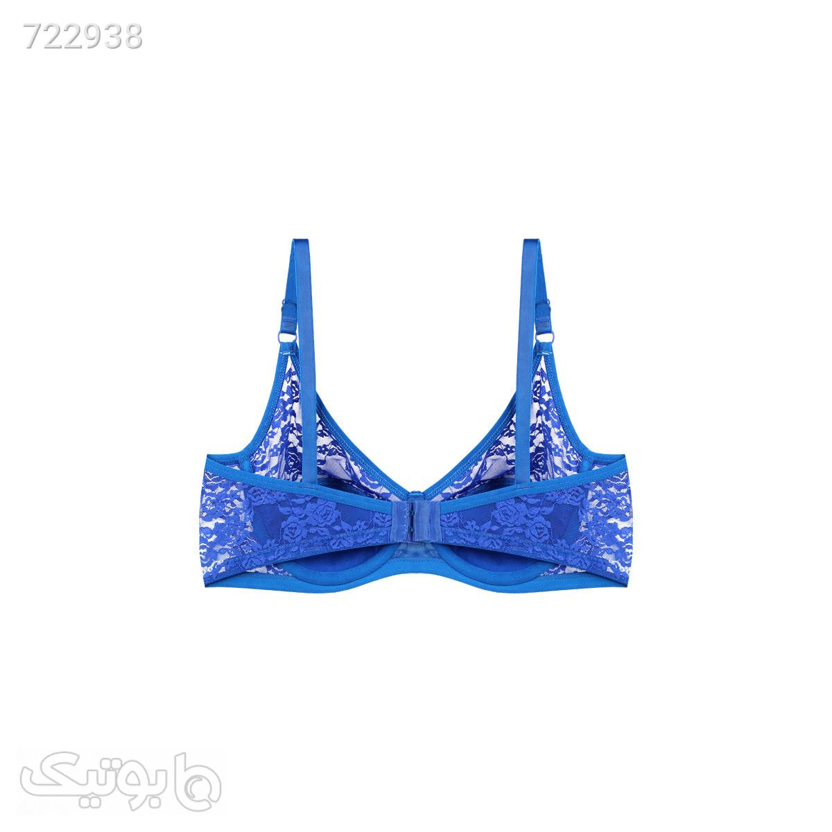 ست توری کاربنی بدن نما برند B038;D کدs3691 آبی لباس زیر زنانه