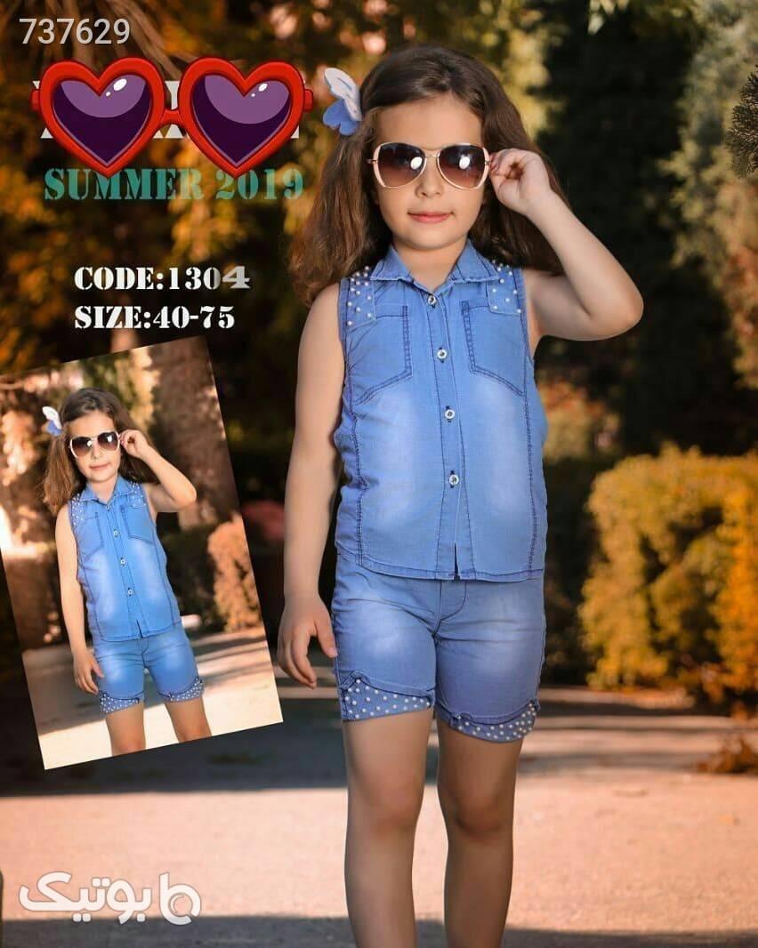 ست لباس عیدانه دخترانه  آبی لباس کودک دخترانه