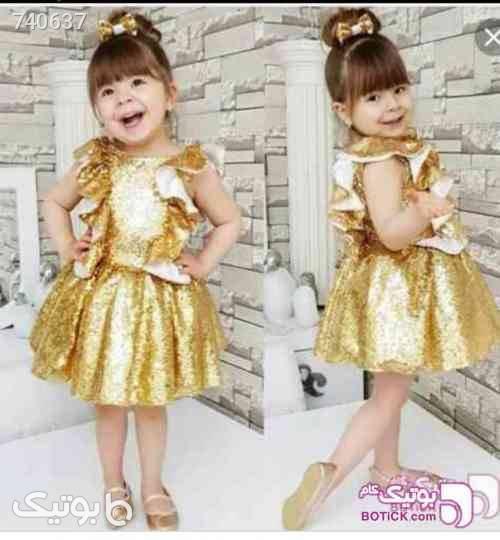 پیراهن پولکی طلایی شیک زرد لباس کودک دخترانه