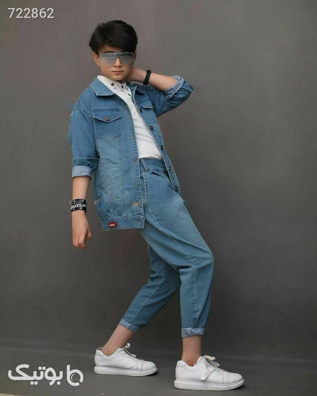 ست عیدانه پسرانه  آبی لباس کودک پسرانه