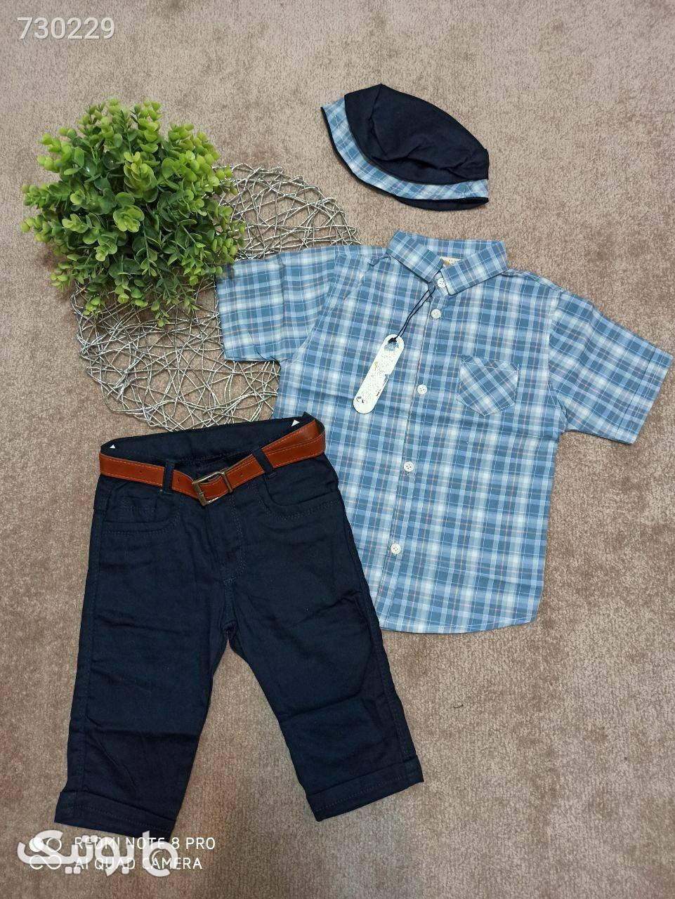 چهار تیکه پیراهن شلوارک کمربند و کلاه آبی لباس کودک پسرانه