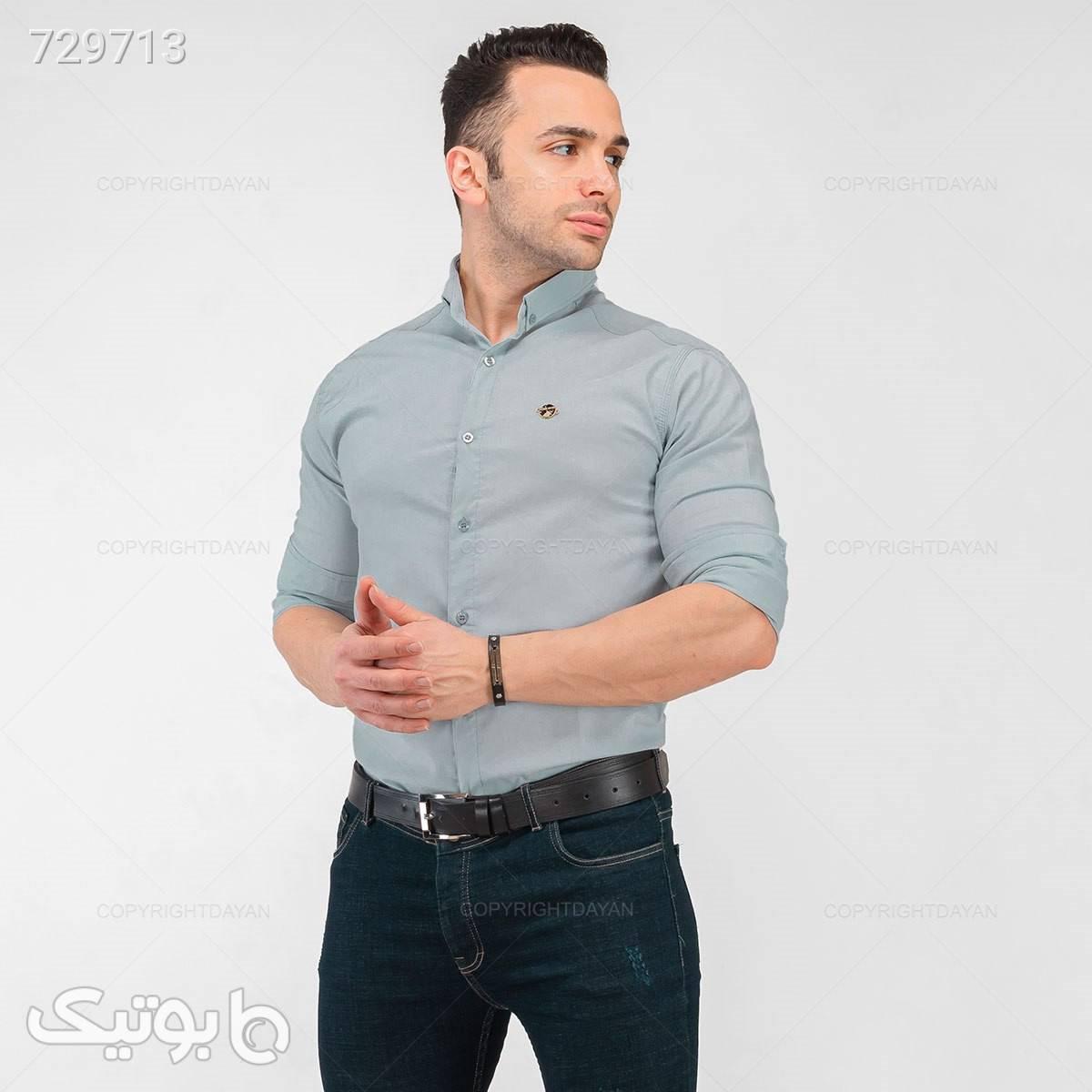 پیراهن بهاری پنبه درجه یک آراز  نقره ای پيراهن مردانه
