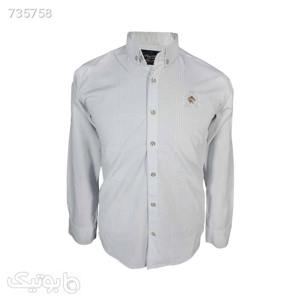 پیراهن ساتن خطی طوسی روشن 12408644 نقره ای پيراهن مردانه
