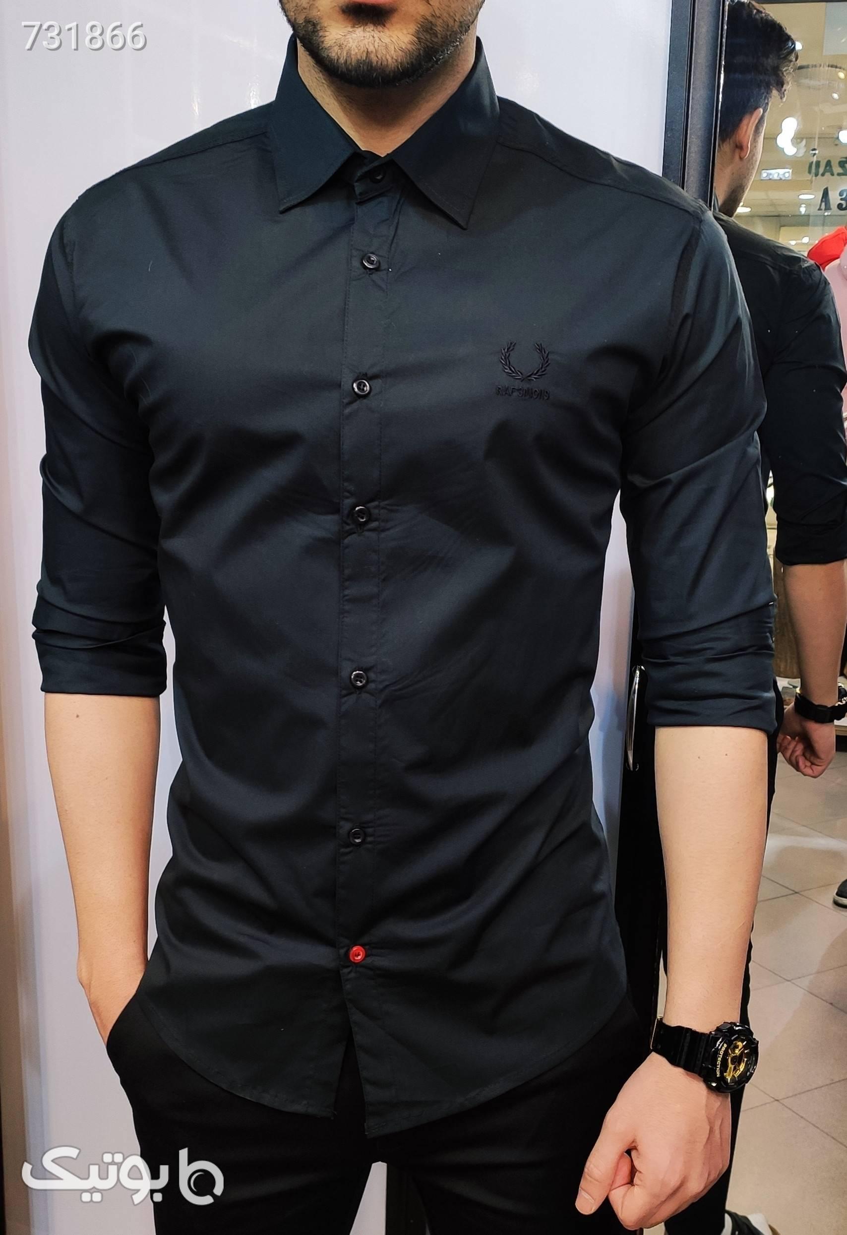 پیراهن ساده اندامی مشکی پيراهن مردانه