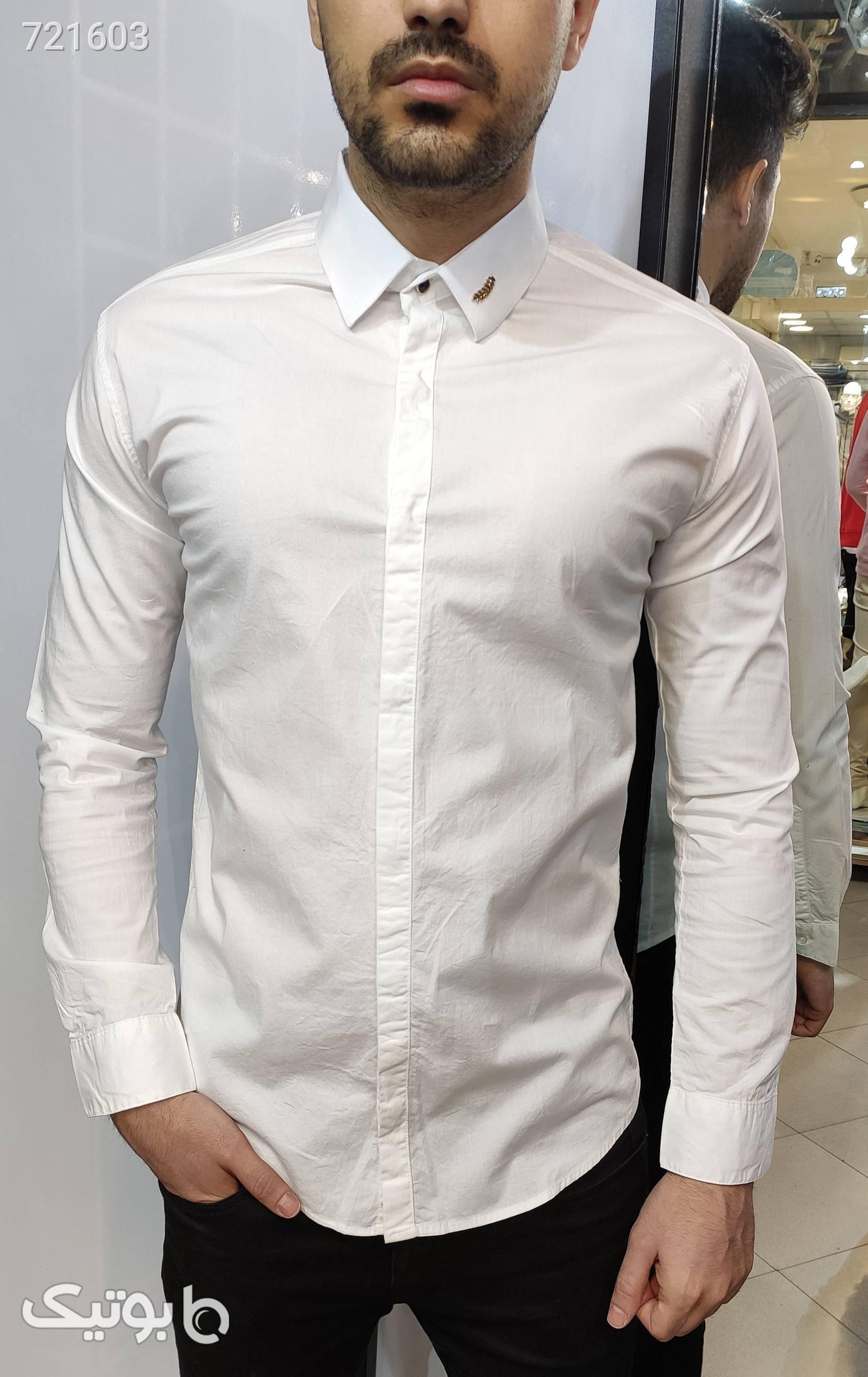 پیراهن سفید ساده سبز پيراهن مردانه