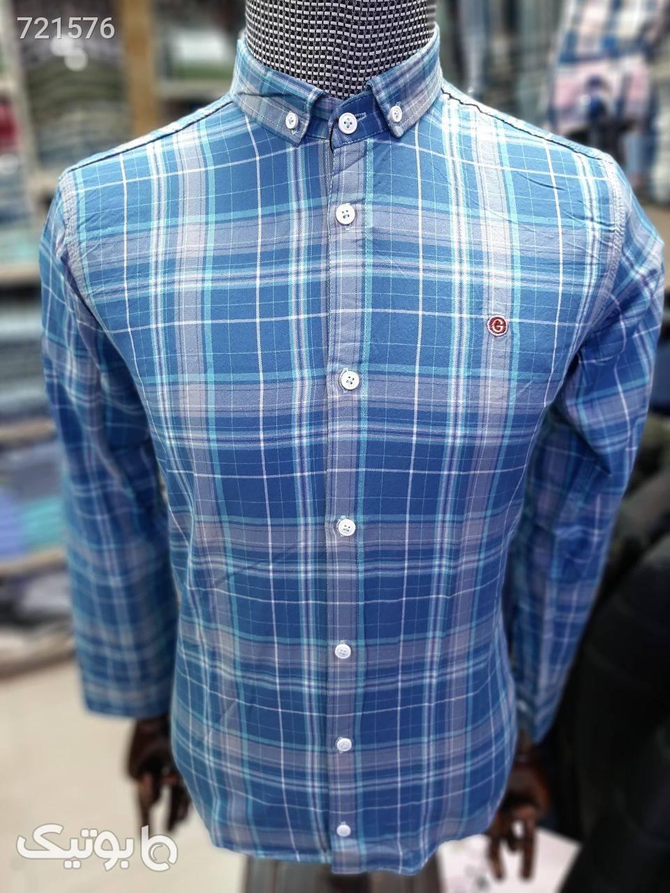 پیراهن مردانه نخ کتان فیروزه ای پيراهن مردانه