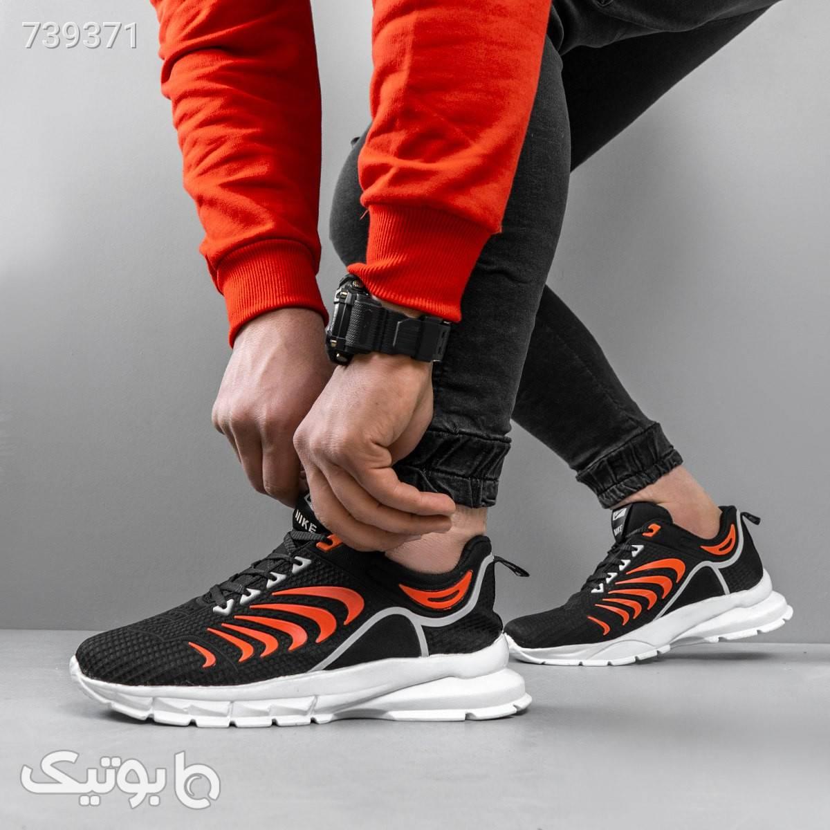 كفش مردانه مدل iham رنگ مشكي نارنجي مشکی كتانی مردانه