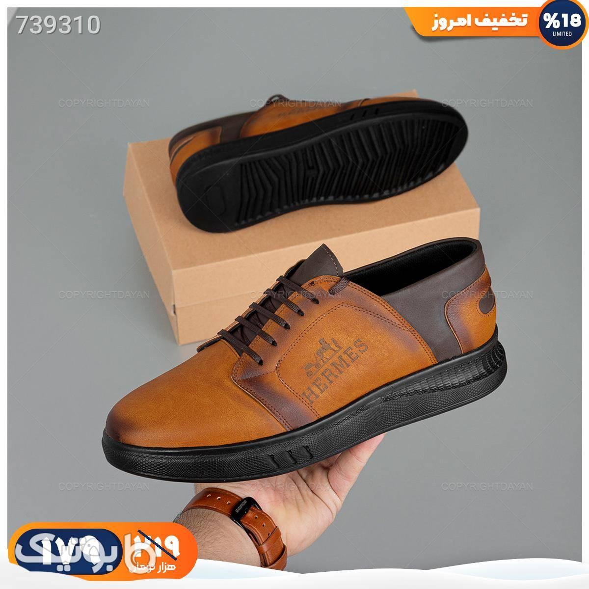 کفش مردانه Hermes مدل 18711 قهوه ای كفش مردانه